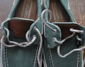 Vintage Womens Sperry Top Sider Boat Shoes Leather Green Size 7
