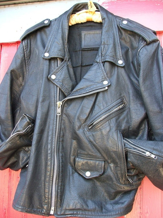 Vintage Leather Womens Medium Mens Small Motorcycle Jacket Black