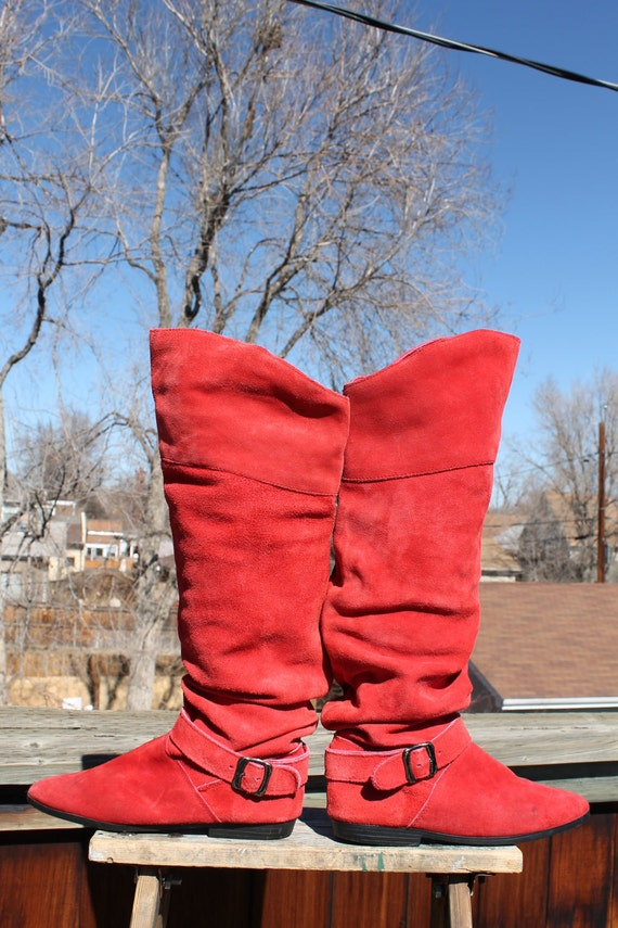 vtg. RED suede leather BUCKLE tall slouch boots womens size 7 1/2 SPAIN