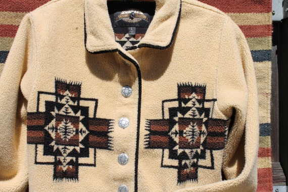 vtg. fleece SOUTHWESTERN vibe button up cropped jacket women size medium