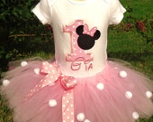 Minnie Mouse inspired custom personalized birthday tutu, onesie or tee set sizes 6m - 5T