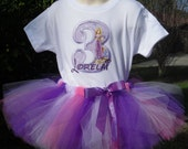 Custom personalized Princess  birthday tutu, onesie set sizes 6m - 5/6  Choice of characters