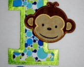 Custom Boutique Mod Monkey Birthday Applique t-shirt for boys 1st, 2nd, 3rd ... - machine embroidered - personalized