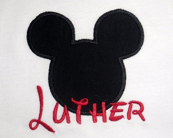Mickey Mouse applique t shirt  - Personalized in Disney font your choice of colors