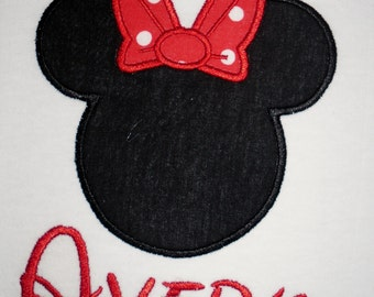 Minnie Mouse with bow applique vacation t shirt - Personalized in Disney font your choice of colors and fabrics