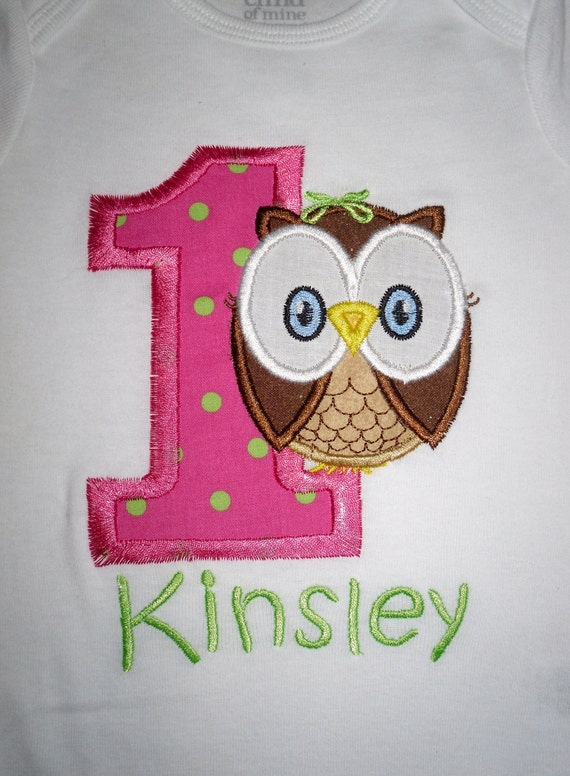 Custom Boutique Owl Birthday Applique t-shirt  - machine embroidered - personalized