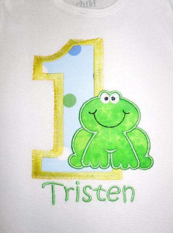 Custom Boutique Frog  Birthday Applique t-shirt for boys 1st, 2nd, 3rd ... - machine embroidered - personalized