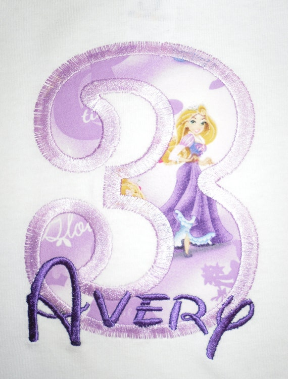 Design your own Letter or Number Princess Rapunzel character applique t-shirt  - Personalized free