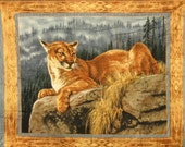 Mountan Lion, Cougar, Wall Hanging, blanket, cabin, lodge, man cave, Hunting, Wildlife, Fathers Day