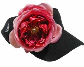 Rose Visor with Swarovski Crystal- Light Pink