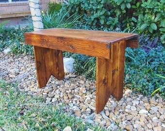Primitive Rustic Cedar Wooden Bench,kitchen Bench,French Country bench,Shabby Chic Bench