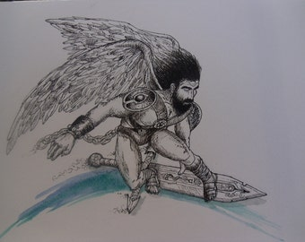 Angel On Skating Sword Original Ink Illustration