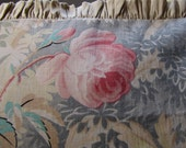 Beautiful Pink Rose Aqua Antique French Print Silk Pillow