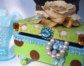 Wood Box  Decorative with Coffee Cup Fabric Top Green & Polka Dots-Coffee Craze Ready To Ship