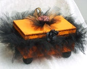 Decorative Boxes Wood  with Black Tutu & Painted Orange and Black with a  Black Rose and Black Tutu Ready To Ship