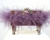 Decorative Music Box Wooden Plum Box and Tutu Sparkles & Silver and Plum Acrylic Rhinestone Flower Finding