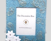 Decorative  Frame W/Stand and Blue Textured with Paisleys & White Silk Flowers Ready To Ship