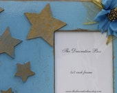 Frame Decorative Shabby Chic Distressed  5x7 Picture Frame Blue and Gold Stars Dream Ready To Ship