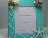 "Decorative Frame Seashell Frame Bahama Blue Polymer Clay Flower & Starfish and Shells 8 x 10"" Picture Ready To Ship"