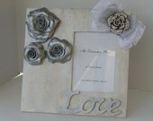 """Decorative Frame Silver with Handmade  Polymer Clay Roses Wedding Frame-Anniversary Frame  Holds 5 x 7"""" Photo Ready To Ship"""