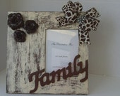 Decorative Frame Roses and Giraffe Theme Brown and Champagne and Tan Ready To Ship