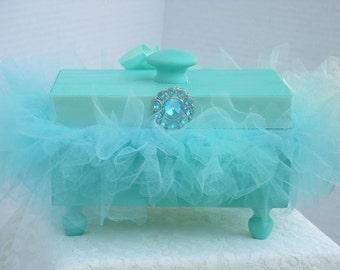 Decorative Box Wooden Bahama Blue with a Bahama Blue Tutu