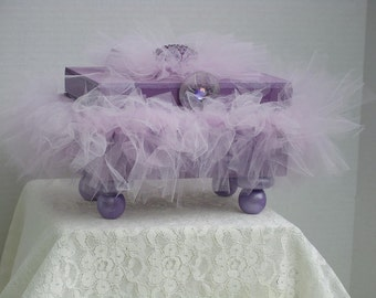 Decorative Wooden Box  Amethyst  with Amethyst Tutu Satin Ribbon & Jewelry Finding