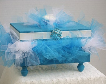 Decorative Box Wood with Turquoise and White Tutu & White Satin