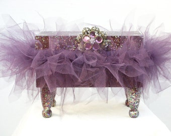 Decorative Music Box Wooden Plum Box and Tutu Sparkles & Silver and Plum Acrylic Rhinestone Flower Finding