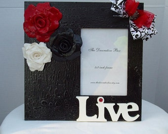 Decorative Frame Handmade Roses made out of Polymer Clay This frame has been Sold and will be made upon purchase