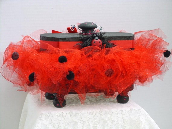 Decorative Box Wooden with  A  Lady Bug Tutu Red and Black with Lady bug on the Front