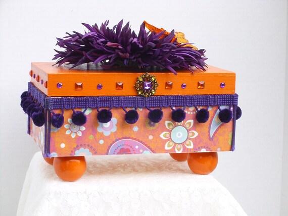 Decorative Box Wood with Paisley Orange & Purple Scrapbook Paper Purple Dangle Ball Trim Orange Butterfly Ready To Ship