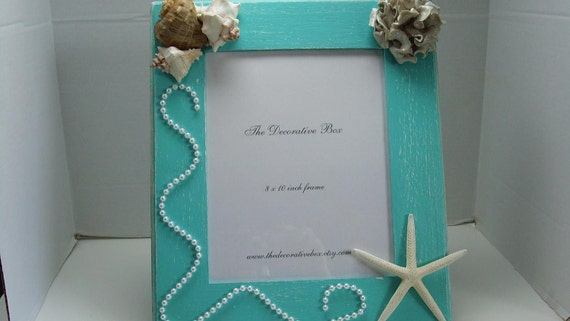 """Decorative Frame Seashell Frame Bahama Blue Polymer Clay Flower & Starfish and Shells 8 x 10"""" Picture Ready To Ship"""