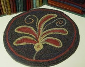 """Rug Hooking PATTERN, Leafy Fronds Chair Pad, 14"""" round, J678"""