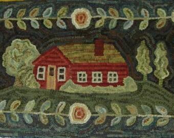 "Rug Hooking Pattern, Home Sweet Home 20"" x 36"", J744, Primitive Rug Design, House and Flowers Folk Art Pattern"