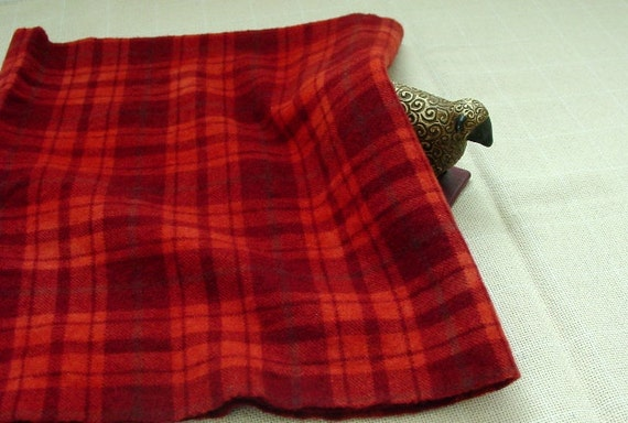 Hand Dyed Wool Fabric, 1/2 yard, Red Plaid, J387