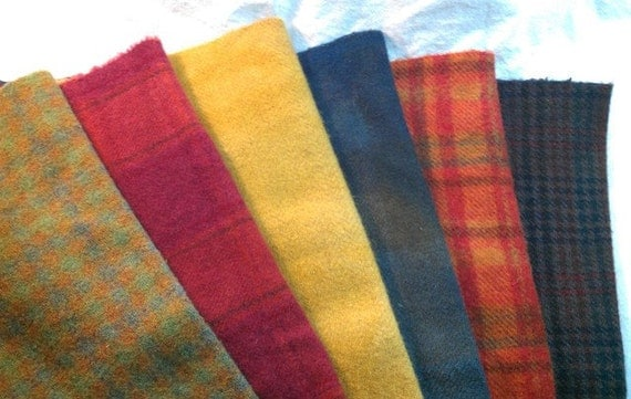 6 Fat Eighth Hand Dyed Wool Fabric, Color Mix, J490