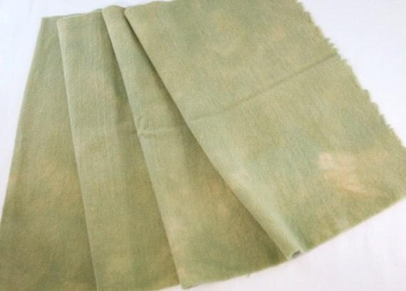 Light Green Hand Dyed Wool Fabric, Fat Quarter Yard,  J534