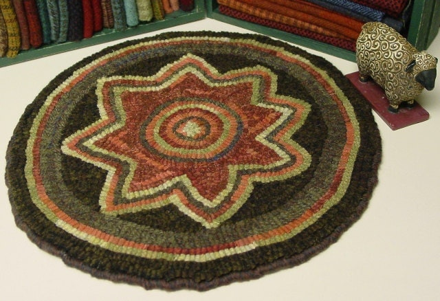 Rug Hooking Pattern Star Flower Chair Pad 14 Round