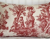 Decorative Pillow - 11x17 - Waverly Country Life Toile - Garnet Red - Throw Pillow - Ivory - Red