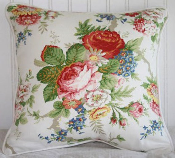 Ralph Lauren Garden Club/White - 16 inch Pillow Cover - Pink - Red - Green - Blue - Yellow - Taupe - White