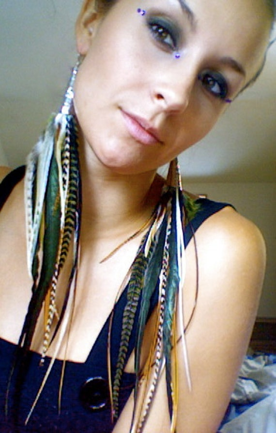 extra long skinny feather hippie boho dangle extension earring. saddle, hackle whiting, metz