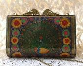 Art nouveau enameled metal peacock box purse
