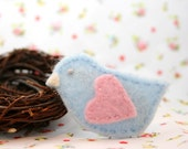 Blue Bird w/Pink Heart Wing Wool Felt Hair Clip