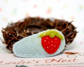 Sweet Little Strawberry on Light Blue Wool Felt Small Hair Clip
