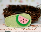 Juicy Little Watermelon on Light Green Wool Felt Hair Clip - Small