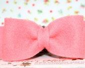 Pretty in Pink Bow Wool Felt Hair Clip
