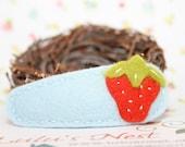 Sweet Little Strawberry on Light Blue Wool Felt Hair Clip - Large