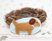 Dachshund Puppy Baby Blue Wool Felt Hair Clip