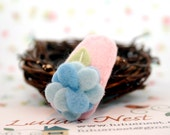 Blue Hydrangea Light Pink Wool Felt Hair Clip